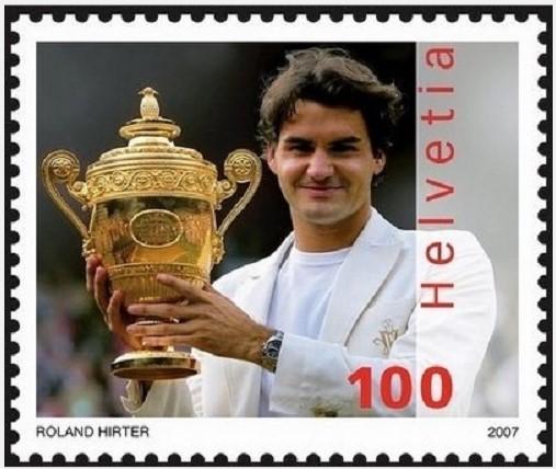 Roger on Swiss stamp